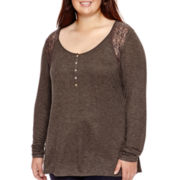 Arizona Long-Sleeve Lace-Yoke Henley Top - Juniors Plus
