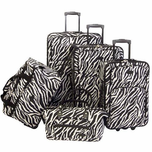 American Flyer Animal Print 5PC Luggage Set