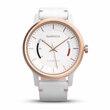 jcpenney.com | Garmin Vivomove Womens White Leather Band Smartwatch-0100159713