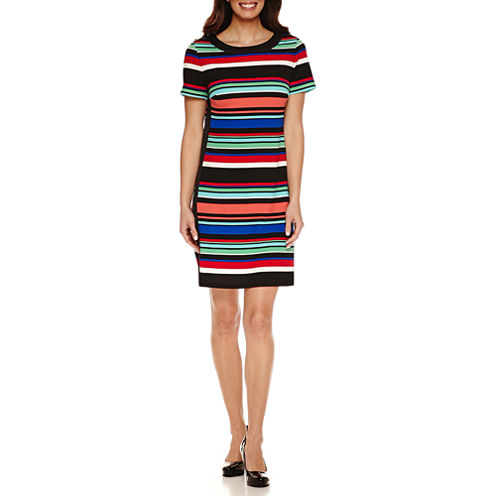 London Style Short Sleeve Shift Dress