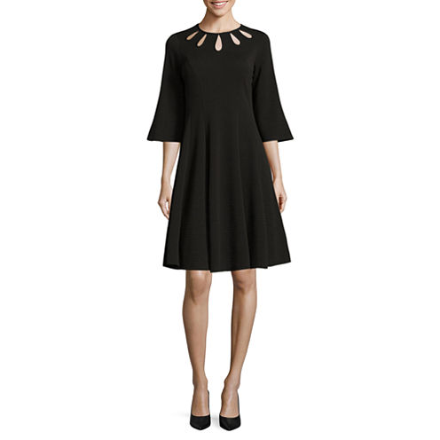 Danny & Nicole Elbow Bell Sleeve Fit & Flare Dress