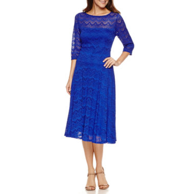 jcpenney.com | Signature by Sangria 3/4 Sleeve Lace Fit & Flare Dress