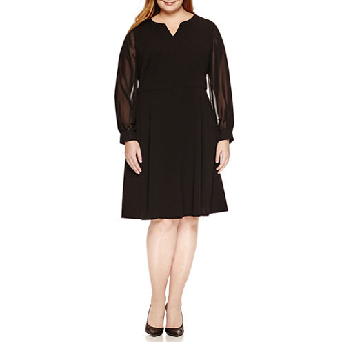 London Times Long Sleeve Fit & Flare Dress-Plus