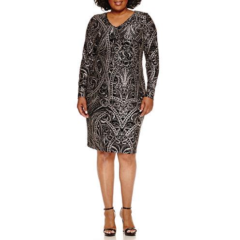 Blu Sage Long Sleeve Embellished Sheath Dress-Plus