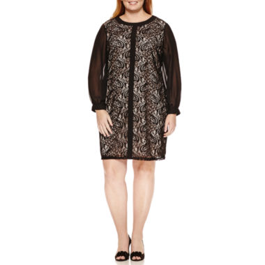 jcpenney.com | London Times Long Sleeve Shift Dress-Plus