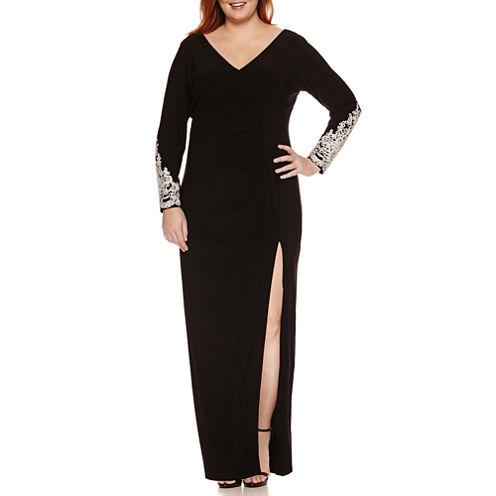 Blu Sage Long Sleeve Embellished Evening Gown-Plus