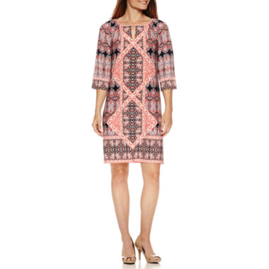 jcpenney.com | Liz Claiborne 3/4 Sleeve Printed Shift Dress