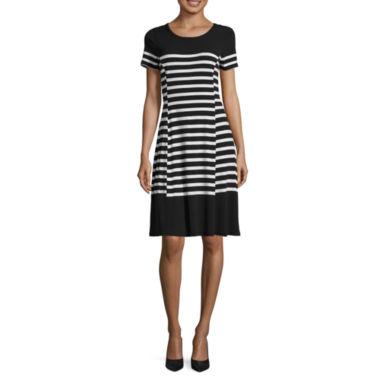 jcpenney.com | Liz Claiborne Short Sleeve Stripe Fit N Flare Dress