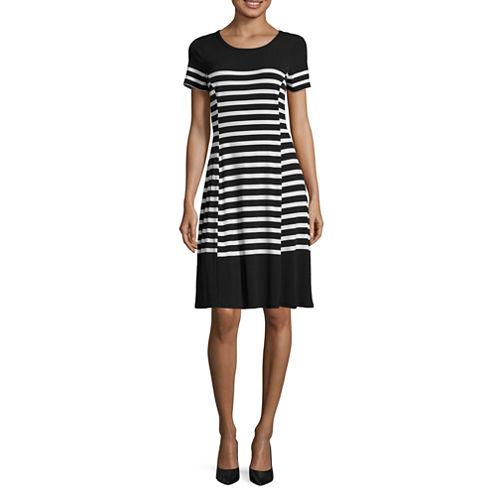 Liz Claiborne Short Sleeve Stripe Fit N Flare Dress