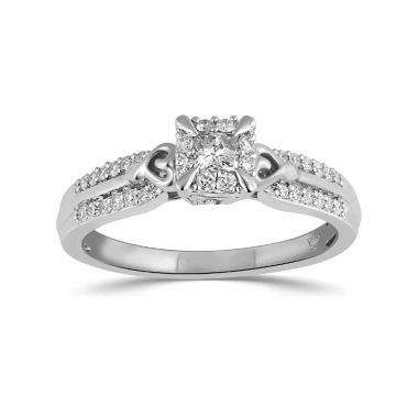 jcpenney.com | Hallmark Bridal Womens 1/3 CT. T.W. Princess White Diamond 10K Gold Engagement Ring
