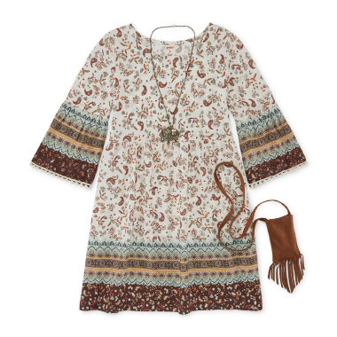 jcpenney.com | Arizona Long-Sleeve Suede Peasant Dress - Girls 7-16 and Plus