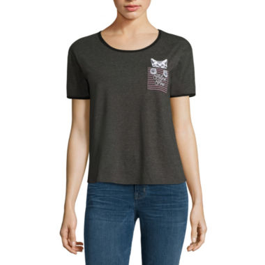 jcpenney.com | Short Sleeve Scoop Neck Graphic Charcoal Heather Black Ringer T-Shirt