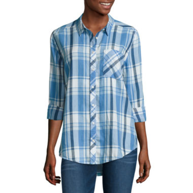 jcpenney.com | Arizona Long Sleeve Boyfriend Plaid-Juniors