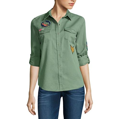 Arizona Button-Down Patch Shirt-Juniors