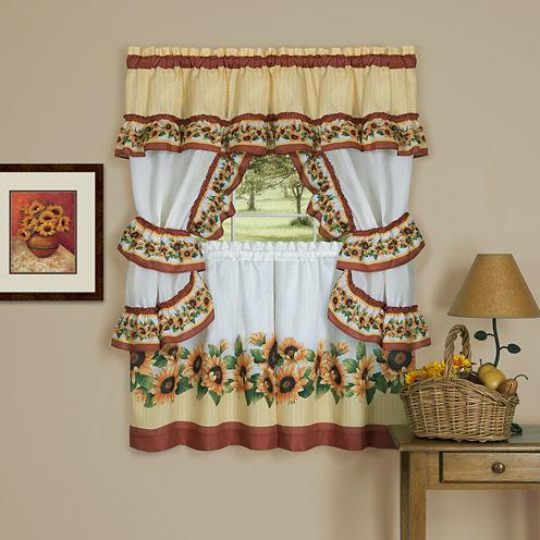 Black Eyed Susan 3-pc. Rod-Pocket Kitchen Curtain Set
