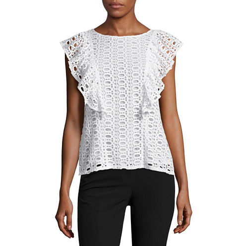 Worthington Lace Flutter Sleeve Top
