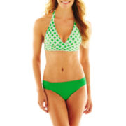 jcp™ Print Banded Halter Swim Top or Solid Side-Tab Hipster Bottoms