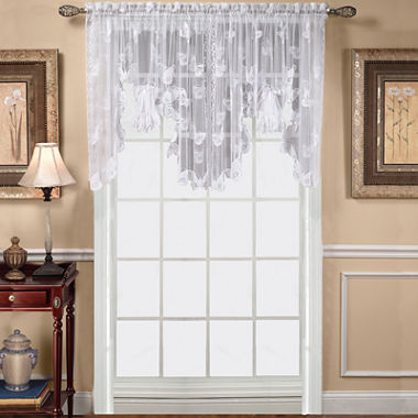 Curtains Ideas butterfly valance curtains : Butterfly Lace Rod Pocket Swag Valance