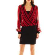 Bisou Bisou® Long-Sleeve Striped Blouson Dress