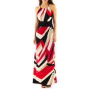 London Style Collection Print Halter Maxi Dress