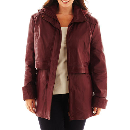Excelled Leather Hooded Anorak Jacket - Plus