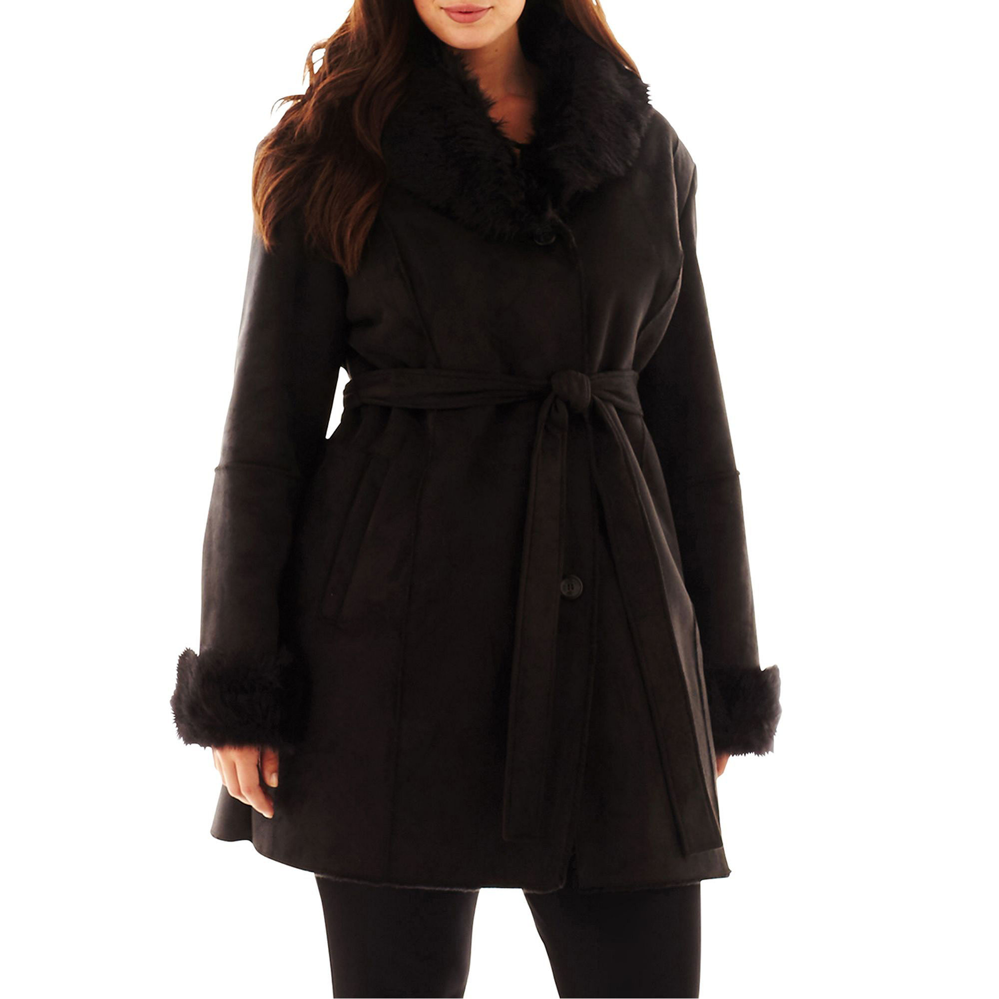 Excelled Faux-Shearling Belted Coat - Plus