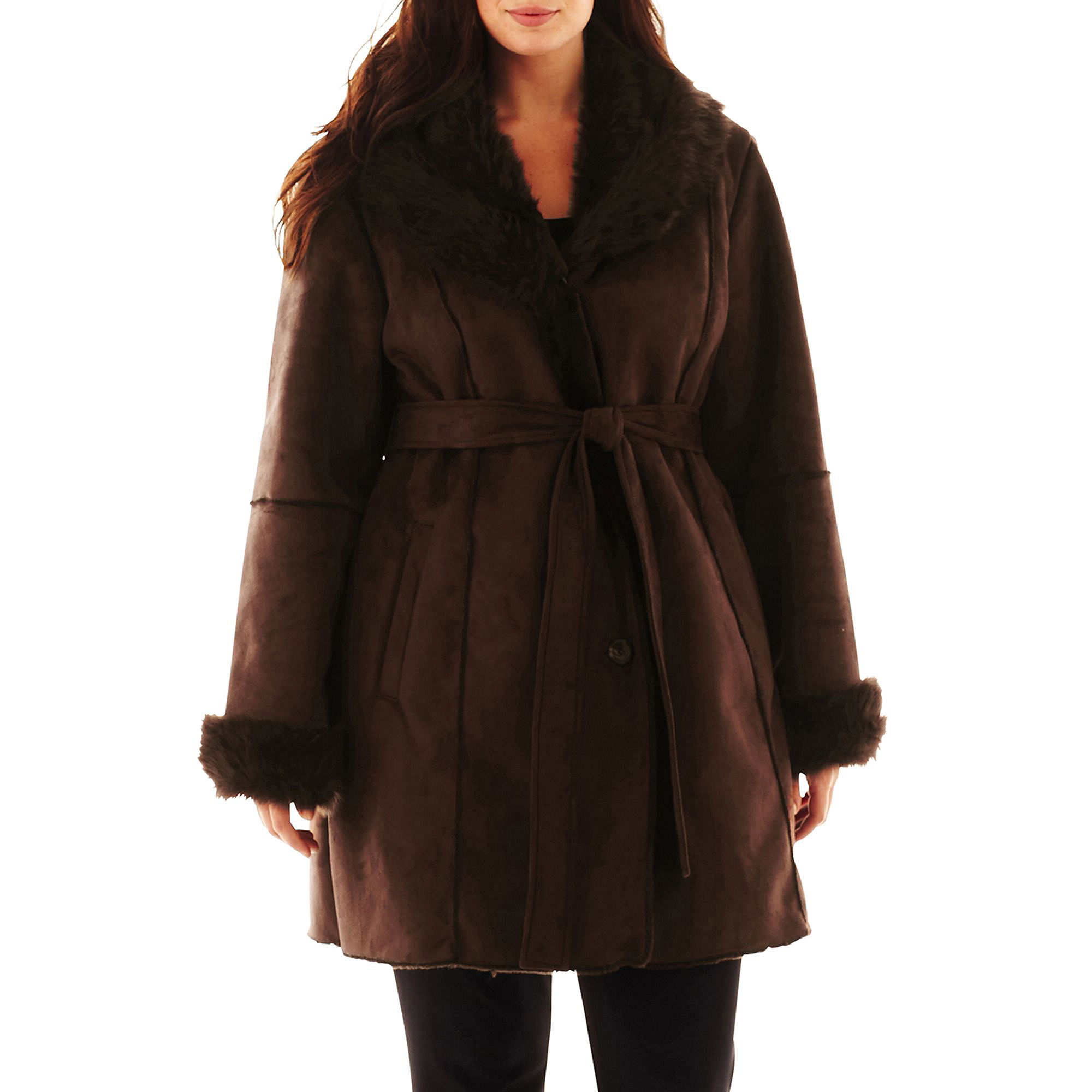 Excelled Leather Faux-Shearling Belted Coat - Plus