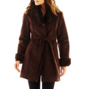 Excelled Leather Faux-Shearling Belted Coat