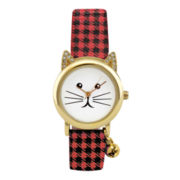 Womens Holiday Kitty Strap Watch