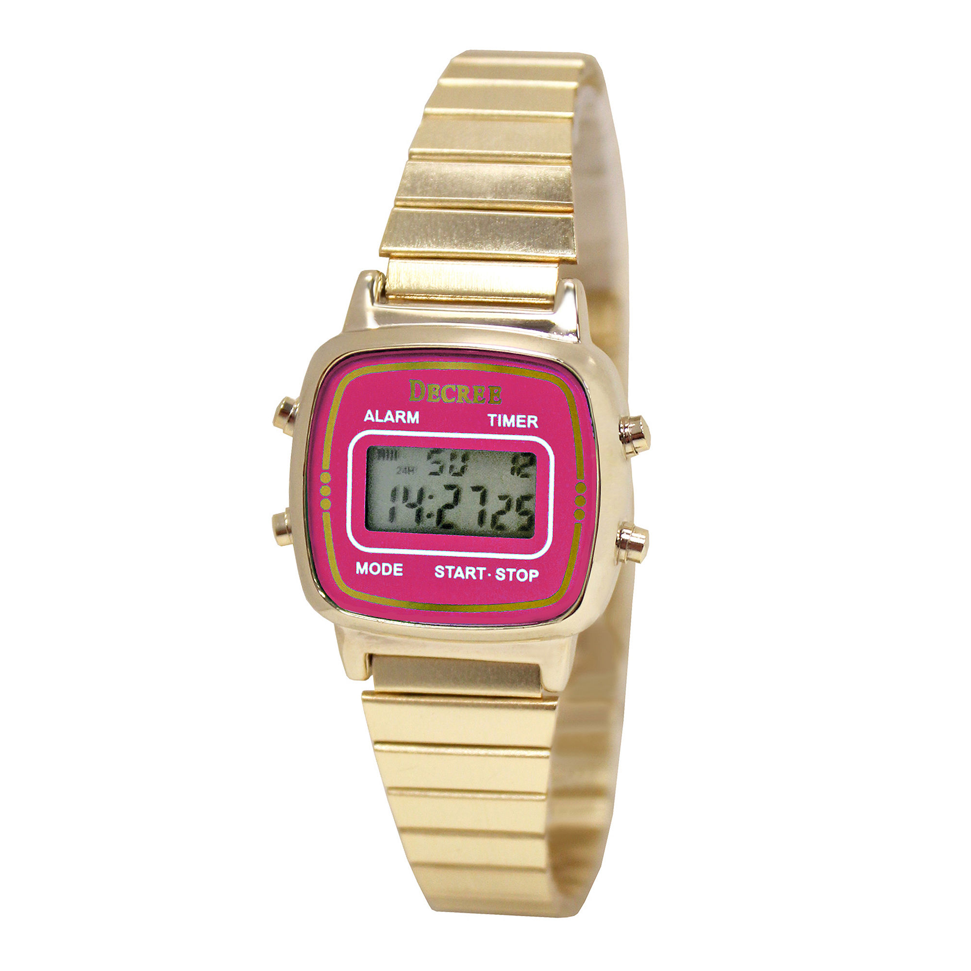 Decree Concepts Womens Pink Retro Digital Expansion Watch
