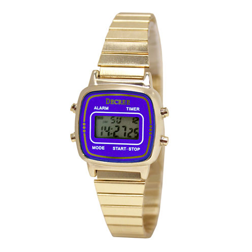 Decree® Concepts Womens Blue Retro Digital Expansion Watch
