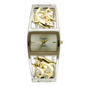 Womens Two-Tone Dolphin Bangle Watch
