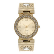 Womens Gold-Tone Round Bangle Watch