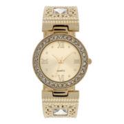 Womens Gold-Tone Round Bangle Watch