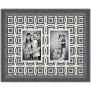 Gray Patterned Matted Picture Frame with 2 Openings