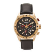 Ingersoll® Snake Mens Rose-Tone Black Leather Strap Watch