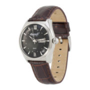 Ingersoll® Hanover Mens Black Dial Brown Leather Strap Watch