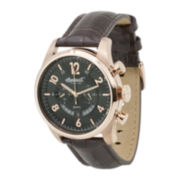Ingersoll® Chelsea Mens Black Dial Brown Leather Strap Chronograph Watch