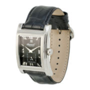 Ingersoll® Kensington Mens Black Dial Black Leather Strap Watch