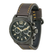 Ingersoll® Lincoln Mens Dark Brown Leather Strap Watch
