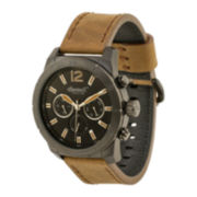 Ingersoll® Lincoln Mens Light Brown Leather Strap Watch
