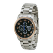 Ingersoll® Mount Mens Rose-Tone Bezel Stainless Steel Chronograph Watch