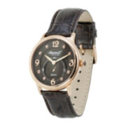 Ingersoll® Regent Womens Crystal-Accent Brown Leather Strap Watch