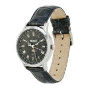 Ingersoll® Oxford Mens Black Leather Strap 4-Hand Moon Phase Watch