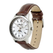 Ingersoll® Oxford Mens Brown Leather Strap 4-Hand Moon Phase Watch
