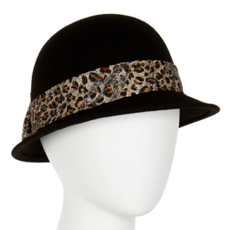 Wool Animal-Print Band Cloche Hat
