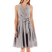 Black Label By Evan Picone Sleeveless Faux Wrap Bodice Dress