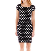 DR Collection Cap-Sleeve Chain-Neck Polka Dot Dress