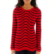 Liz Claiborne® Long-Sleeve Striped Cable Sweater - Tall