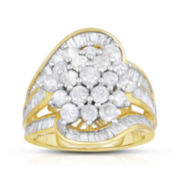 3 CT. T.W. Diamond 10K Yellow Gold Cocktail Ring